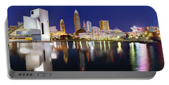 Cleveland Skyline At Dusk Rock Roll Hall Fame Portable Battery Charger