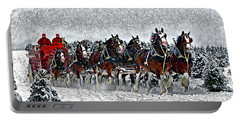 Clydesdales Hitch In Snow Portable Battery Charger