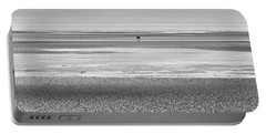 Coastal Brown Bear On  A Beach In Monochrome Portable Battery Charger