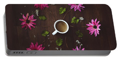 Coffee And Flowers Portable Battery Charger