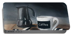 Portable Battery Charger featuring the painting Coffee Time by Fe Jones