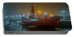 Portable Battery Charger featuring the photograph Colne Lightship In The Fog by Gary Eason