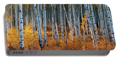 Portable Battery Charger featuring the digital art Colorado Autumn Wonder Panorama by OLena Art Brand