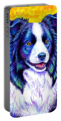 Colorful Border Collie Dog Portable Battery Charger