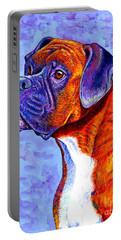 Colorful Brindle Boxer Dog Portable Battery Charger