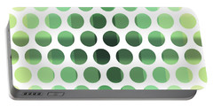 Colorful Dots Pattern - Polka Dots - Pattern Design 6 - Cream, Aqua, Teal, Olive, Green Portable Battery Charger