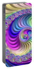 Colorful Fractal Spiral With Stripes Portable Battery Charger