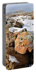 Colorful Lichen Covered Boulders In Book Cliffs Portable Battery Charger