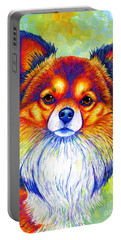 Colorful Long Haired Chihuahua Dog Portable Battery Charger