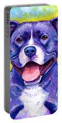 Colorful Pitbull Terrier Dog Portable Battery Charger