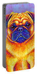 Colorful Rainbow Pug Dog Portrait Portable Battery Charger