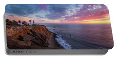 Colorful Sky After Sunset At Point Vicente Lighthouse Portable Battery Charger