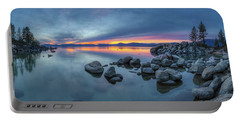 Colorful Sunset At Sand Harbor Panorama Portable Battery Charger