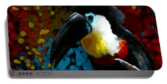 Portable Battery Charger featuring the digital art Colorful Toucan by Mariella Wassing