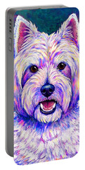 Colorful West Highland White Terrier Blue Background Portable Battery Charger