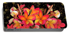 Coloured Frangipani Black And Gold Background Portable Battery Charger