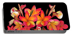 Coloured Frangipani Black Bkgd Portable Battery Charger