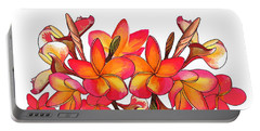 Coloured Frangipani White Bkgd1 Portable Battery Charger