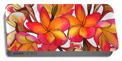 Coloured Frangipani White Bkgd3 Portable Battery Charger