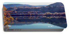 Portable Battery Charger featuring the photograph Train Reflection by Mae Wertz