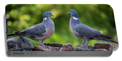 Common Wood Pigeons Meeting At The Waterhole Portable Battery Charger
