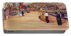 Coney Island Boardwalk Pillow Mural #2 Portable Battery Charger