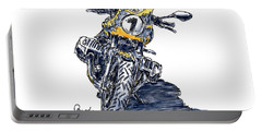 Continental Bmw R Nine T Motorcycle Ink Drawing And Watercolor Portable Battery Charger