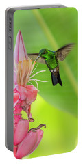 Portable Battery Charger featuring the photograph Copper Rumped Hummingbird Feeds On A Banana Flower by Rachel Lee Young