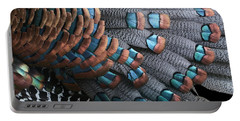 Portable Battery Charger featuring the photograph Copper-tipped Ocellated Turkey Feathers Photograph by Debi Dalio