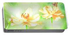 Cosmos Flowers, Bud, Butterfly, Digital Painting Portable Battery Charger