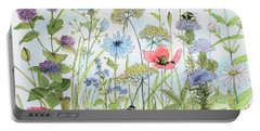 Cottage Flowers And Bees Portable Battery Charger