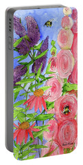 Cottage Garden Hollyhock Bees Blue Skie Portable Battery Charger
