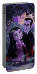 Portable Battery Charger featuring the digital art Count And Countess Dracula During Halloween Evening by Martin Davey