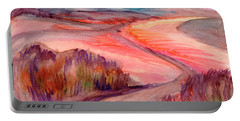Portable Battery Charger featuring the painting Country Road by Dobrotsvet Art