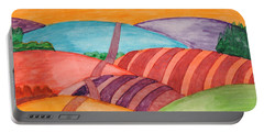 Portable Battery Charger featuring the painting Countryside by Dobrotsvet Art