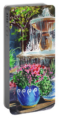 Courtyard With Fountain Landscape   Portable Battery Charger