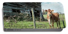 Portable Battery Charger featuring the photograph Cow By The Old Barn, Earlville Ny by Gary Heller
