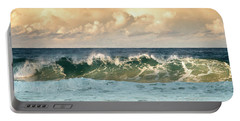 Crashing Waves And Cloudy Sky Portable Battery Charger