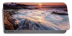 Crashing Waves At Sunrise, Nubble Light.  Portable Battery Charger