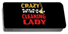 Crazy Cleaning Lady Tee Design Makes A Nice Gift To Your Friends And Family  Portable Battery Charger