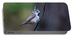 Crested Tit On A Twig Portable Battery Charger