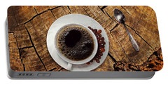 Cup Of Coffe On Wood Portable Battery Charger