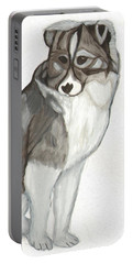 Portable Battery Charger featuring the painting Cute Fluffy Dog by Dobrotsvet Art