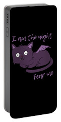 Cute Halloween Cat I Am The Night Fear Me Portable Battery Charger