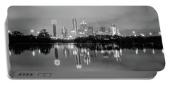 Dallas Cityscape Reflections Black And White Portable Battery Charger