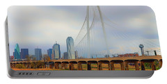 Dallas Skyline With The Margaret Hunt Hill Bridge - Texas - Cityscape Portable Battery Charger