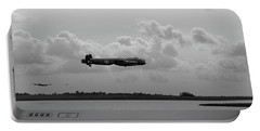 Portable Battery Charger featuring the photograph Dambusters Lancasters At Abberton Bw Version by Gary Eason