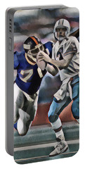 Dan Marino Miami Dolphins Legend Abstract Art 1 Portable Battery Charger