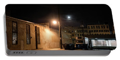 Dark Chicago City Alley At Night With The Moon Portable Battery Charger