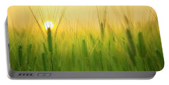 Dawn At The Wheat Field Portable Battery Charger